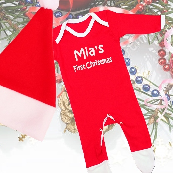 Christmas Pyjamas Baby Santa Hat Sleepsuit Set
