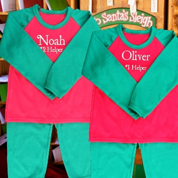 Christmas Pyjamas<br>Personalised Red and Green PJs