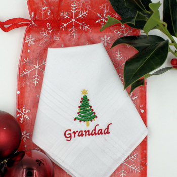 Christmas Handkerchiefs Personalised Hankies Christmas Tree Embroidery