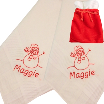 Personalised Snowman Handkerchiefs Christmas Embroidered Hankies