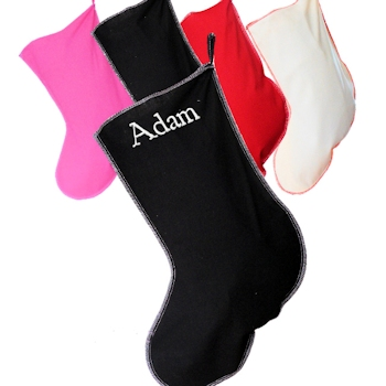 Black Stocking Personalised Cotton Christmas Stocking