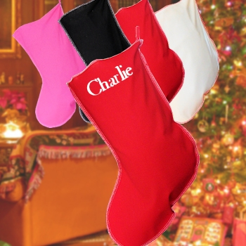 Red Stocking Personalised Cotton Christmas Stocking