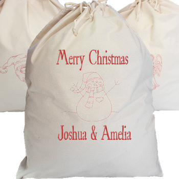 Personalised Canvas Sack Giant Sack Snowman Redwork Embroidery