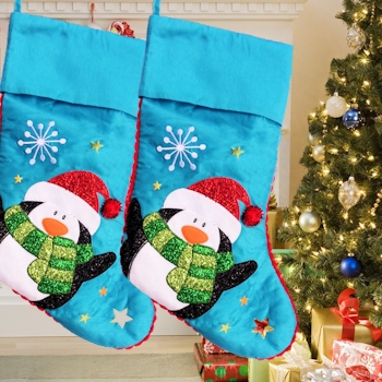 Christmas Stocking Blue Penguin Stocking NQP