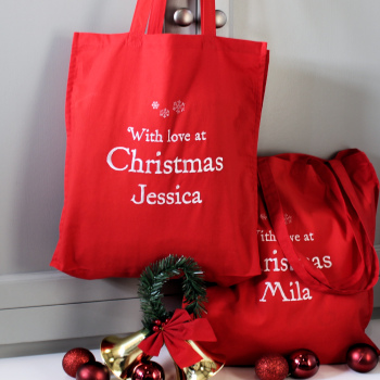 Christmas Bag Personalised Red Tote Gift Bag