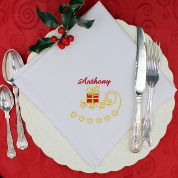 Christmas Napkin Personalised Present Embroidered Napkin