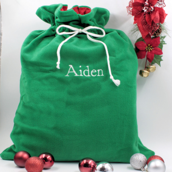 Personalised Santa Sack Large Green Christmas Sack with Name