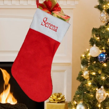 4b0debf3e Personalised Stocking Red and White Plush Fur Stocking