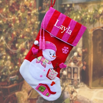 Personalised Stocking Luxury Candy Stripe Pink Stocking