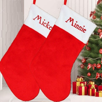Personalised Stocking Christmas Stocking Red White 48cm