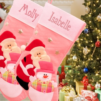 Personalised Christmas Stocking Pink Santa Felt Stocking