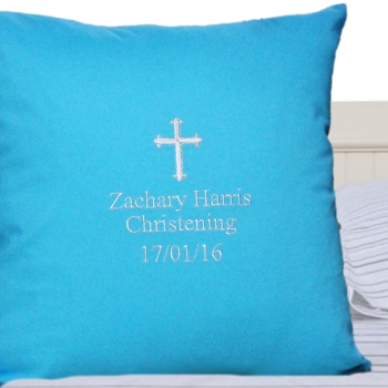 Christening Cushion Personalised Blue Cushion