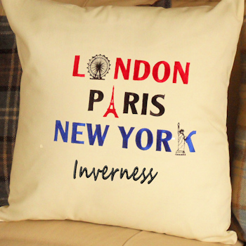 Personalised Cushion Famous Cities Embroidered Cushion