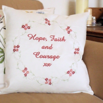 Embroidered Cushion Personalised with Mauve Alabaster Flowers