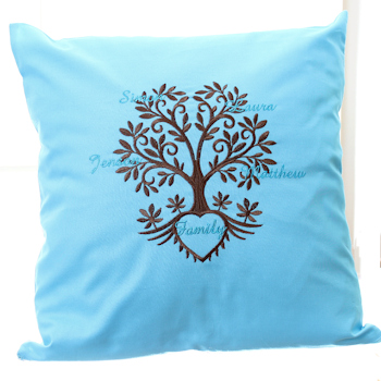 Embroidered Cushion Personalised Family Tree Gift