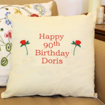 Personalised Cushion<br>Embroidered Birthday Cushion