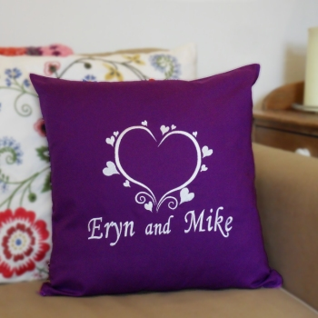 Personalised Cushions Love Hearts Deco Embroidery