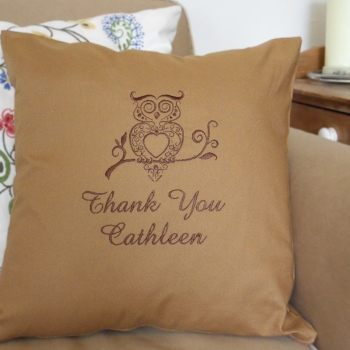 Bespoke Cushion Cover Owl Embroidered Cushion