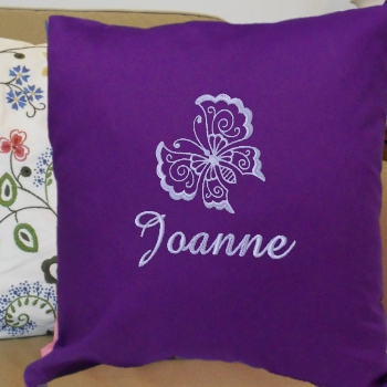 Personalised Cushion Embroidered Butterfly Throw Pillow