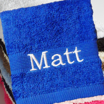 Personalised Flannel Electric Blue Embroidered Face Cloth