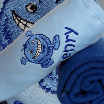 Blue Baby Blanket Monster Cotton Pram Blanket