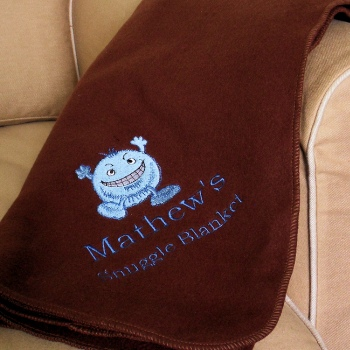 Personalised Throw Embroidered Brown Fleece Blanket