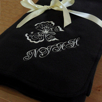 Personalised Blankets Personalised Fleece Blanket Throw Black