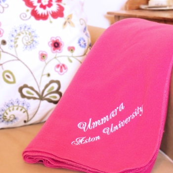 Personalised Blanket Fleece Blanket Throw Cerise Pink