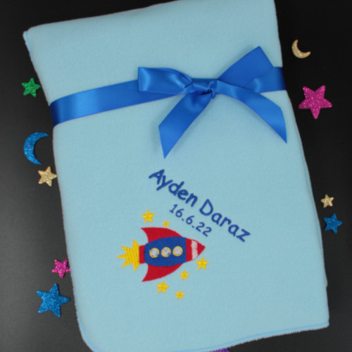 NEW BABY GIFT//PRESENT ANY NAME//EDGE COLOUR SPACE ROCKET PERSONALISED BABY BIB