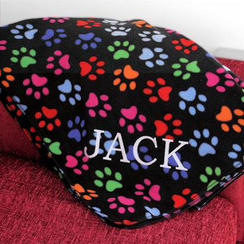 Personalised Throw Paw Prints Fleece Blanket