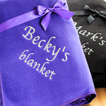 Personalised Blanket Purple Fleece Throw