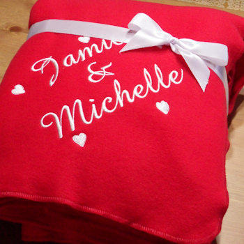 Personalised Love Hearts Throw