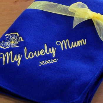 Personalised Blanket Royal Blue Fleece Throw