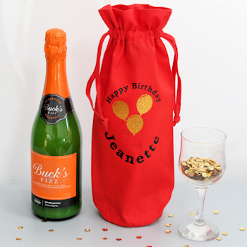 Personalised Bottle Bag Embroidered Birthday Gift Bag