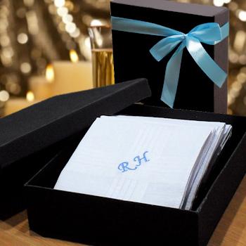 Mens Personalised Handkerchiefs Gift Boxed Hankies Set
