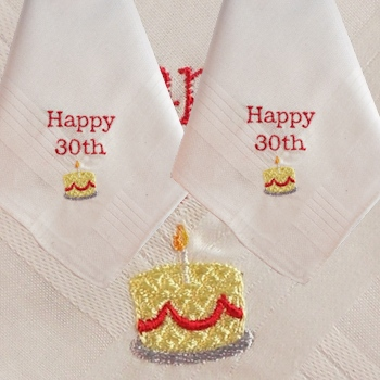Personalised Handkerchiefs Happy Birthday Cake Hankies