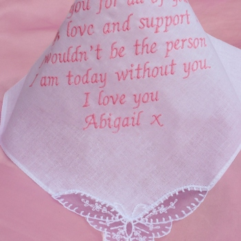 Wedding Handkerchief Ladies Poem Embroidery Butterfly Lace Hanky