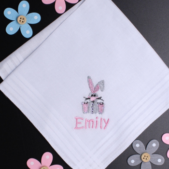 Childs Bunny Hankies Personalised Rabbit Handkerchief