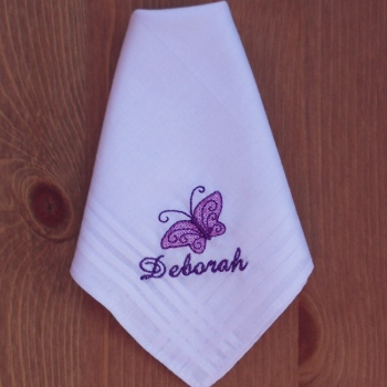 Butterfly Handkerchief Embroidered Butterfly Hanky
