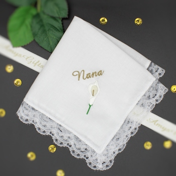 Personalised Handkerchief Cala Lily Lace Trim Ladies Hanky