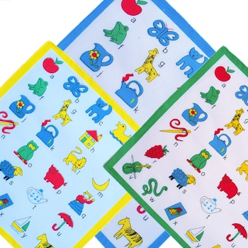 Childrens Handkerchiefs Alphabet Design Kids Hankies