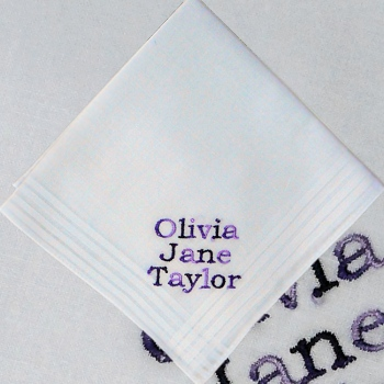 Personalised Handkerchief Childrens Message Embroidered Handkerchief