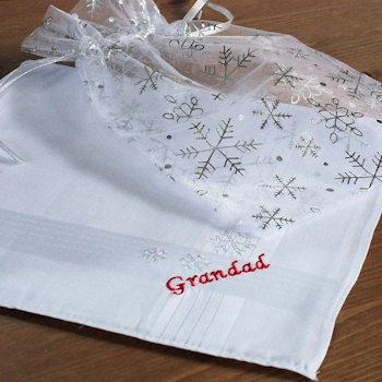 Personalised Handkerchiefs Silver Snowflakes Embroidered Hankie