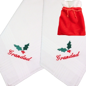 Personalised Christmas Hankies Holly Handkerchiefs Gift Set