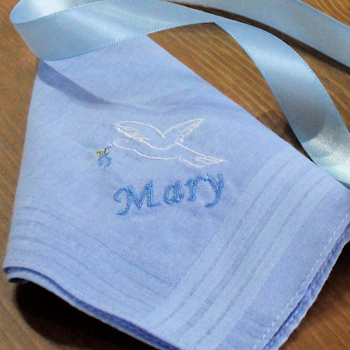 Ladies Dove Hankderchief Ladies Something Blue Hanky