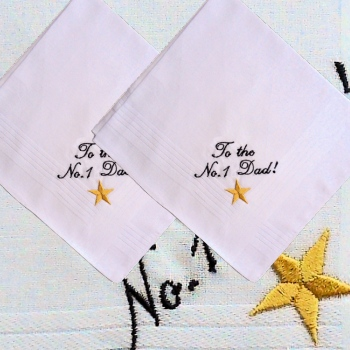 Men Hankie Set Star Embroidered Personalised Handkerchiefs Pair