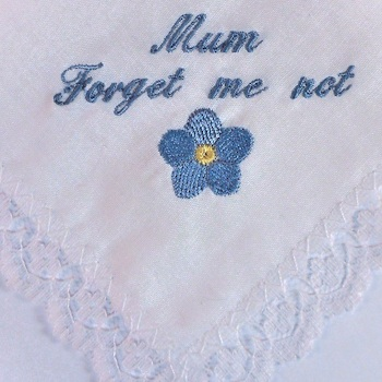 Ladies Handkerchief Forget Me Not Lace Trim Hanky