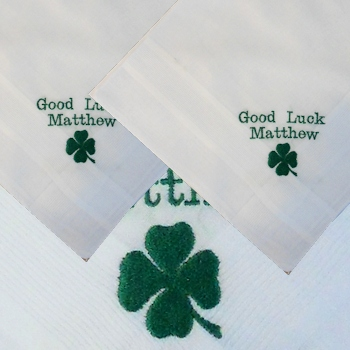 Personalised Good Luck Gift Green Clover Personalised Handkerchiefs