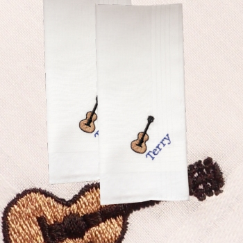 Guitar Handkerchiefs Personalised Handkerchief Pair