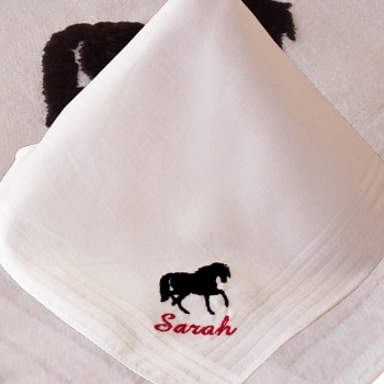 Horse Handkerchief Ladies White Cotton Hanky